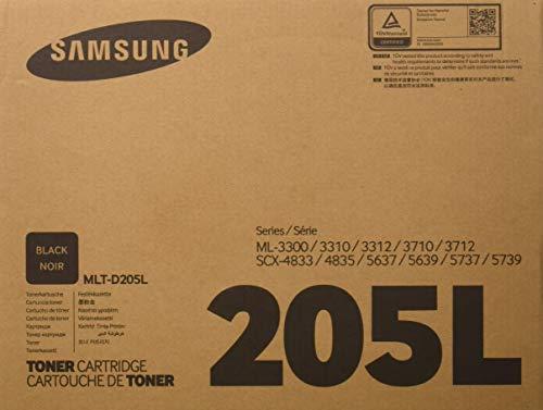- Samsung MLT-D205L Toner Cartridge Black, High Yield for ML-3312ND, ML-3712ND, 3712DW, SCX-4835FR, SCX-5639FR, 5739FW