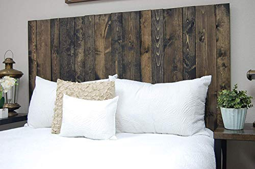 Ebony Headboard Queen Size Stain, Hanger Style, Handcrafted. Mounts on Wall. Easy Installation