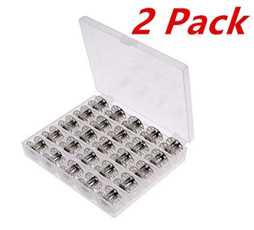 (50 Pieces Metal Sewing Machine Bobbins with Case for Brother Singer Janome Kenmorev)