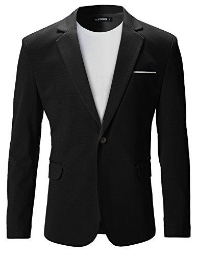 FLATSEVEN Mens Slim Fit Casual Premium Blazer Jacket (BJ102) Black, L