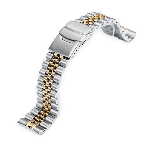 22mm Super 3D Jubilee 316L SS Watch Bracelet for Seiko New Turtles SRP775, 2-Tone IP -