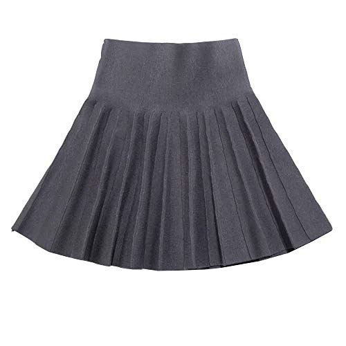 Gooket Girls High Waist Knitted Flared Pleated Skater Skirt Casual Mini Skirt Grey Tag 120 (5-6 Years) by Gooket (Image #3)