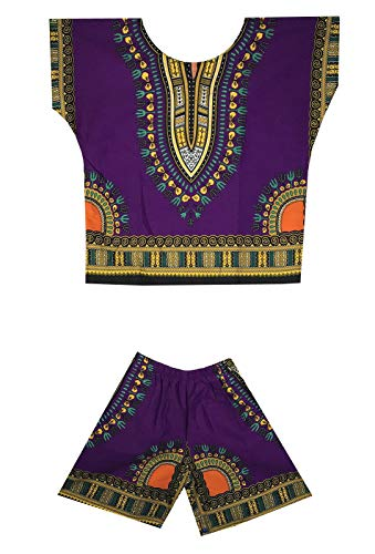 - DecoraApparel Kids Dashiki Suit 2 to 5 years old set Baby Shirt with Short One Size (Purple Yellow)