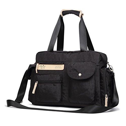 Mummy Bag Multi-funcional Diagonal Cruz Madre paquete de gran capacidad embarazadas Paquete Maternal Out Bolsas Set ( Color : Purple ) Negro
