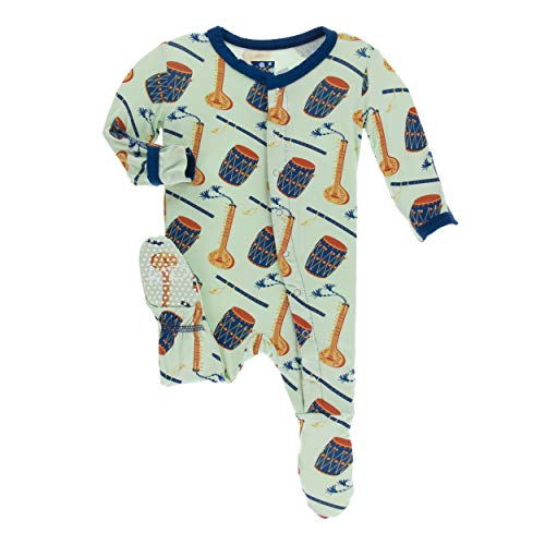(Kickee Pants Little Boys Print Footie with Snaps - Pistachio Indian Instruments, 0-3)