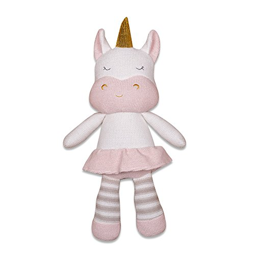 Living Textiles Plush Toy (Kenzie the Unicorn). Knitted Unicorn Stuffed Animal Toy with Rattle. Machine Washable. (Knitted Animal)
