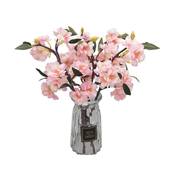 D-Seven 6pcs of Artificial Cherry Blossom Stems Fake Sakura Silk Flower Branches for Wedding Party Garden Home Hotel Office Shop Arch Decoration (Pink)