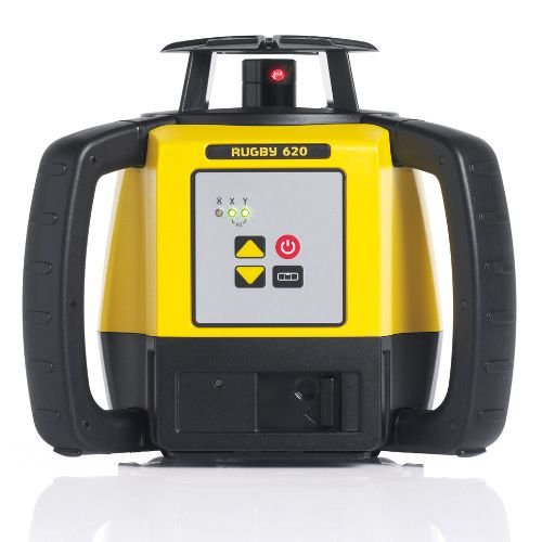 Leica R620,REBasic, Alkaline Rugby 620 2000-Feet Self Leveling Horizontal and Manual Single Slope Rotary Laser Kit with Rod Eye Basic Receiver, Yellow by Leica Geosystems (Image #1)