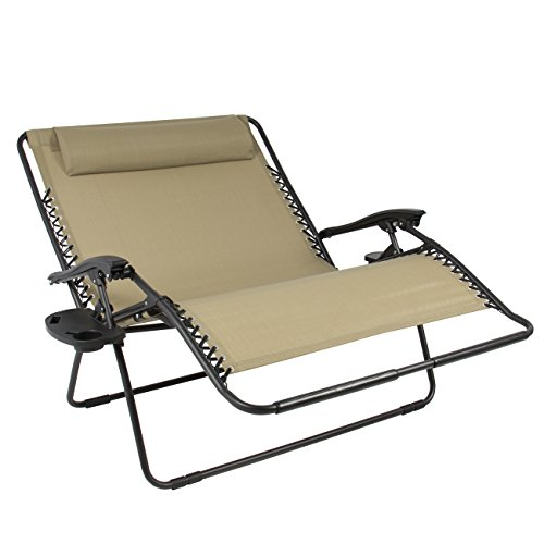 Best Choice Products Folding 2 Person Oversized Zero Gravity Lounge Chair W 2 Accessory Trays