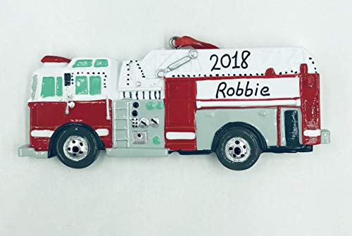 Fire Engine Personalized Christmas Ornament-Handpainted - Free Customization by Gifts Center Ornament