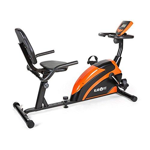 Klarfit Relaxbike 5G Liege-Ergometer Liegefahrrad Recumbent Bike (platzsparendes Liegerad , Handpulsmesser, Trainingscomputer, bis max. 100kg) orange-schwarz