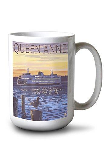 Lantern Press Queen Anne, Washington - Ferry Sunset and Gull (15oz White Ceramic Mug)