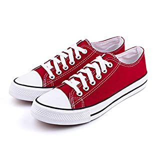 Hurriman Women's Canvas Low Top Sneakers Lace Up Casual Fashion Shoes (Label 36, Red)