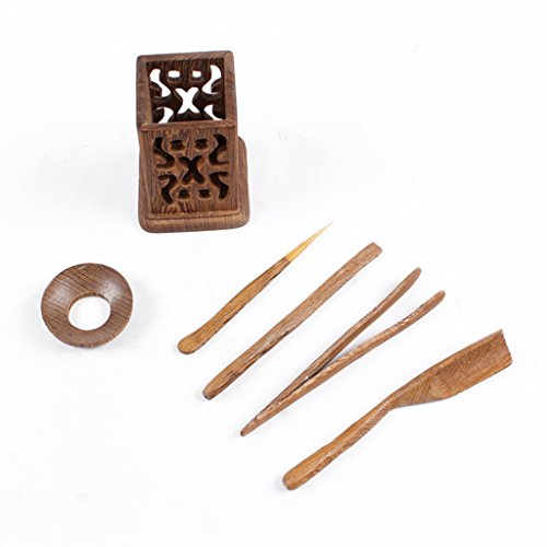 Homyl 6 Pieces Tea Tools Set of Six Wooden Crafts Tea Utensils Tea Needles Suit - #4 by Homyl (Image #2)