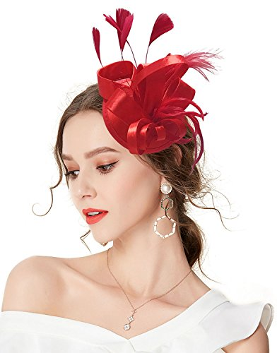 (Z&X Fascinator Hats for Women Feather Flower Derby Party Hat Bridal Headband Clip)