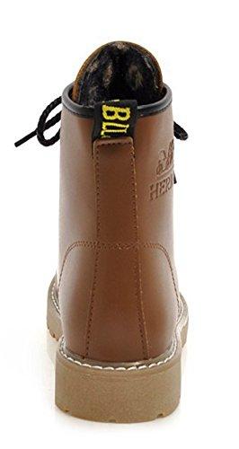 Brun Femme Aisun Petit Confortable Talon Martin Sport Bottines pA801O