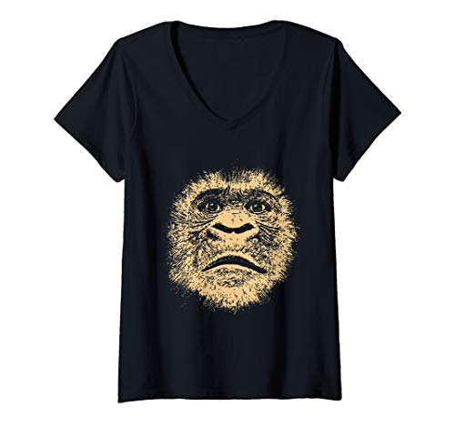 Womens Chimpanzee Face  Funny Gift for Ape Fan Gorilla Lover Adult V-Neck T-Shirt