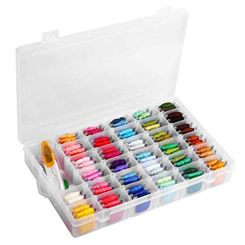 Bracelets 36 Friendship (Embroidery Floss with Organizer Storage Box - 96 Colors Friendship Bracelets String Embroidery Thread with Number Stickers and Plastic Floss Bobbins - Rainbow Cross Stitch Kits)
