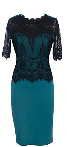 Trim Women's Mid Coolred Green Stitching Solid Dress Lace Hollow Elegant Length wFwqnXd