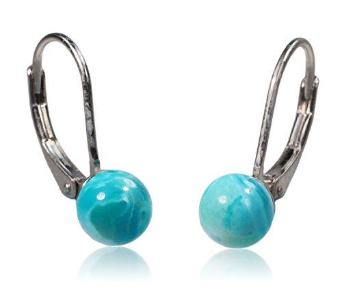 Stabilized Turquoise Beauty Sleeping - Sterling Silver Sleeping Beauty Turquoise Round Lever-Back Earrings 6mm