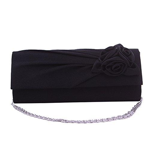 Heyjewels Elegant Schwarz Blumen Damenhandtasche Rose Satin Clutch Abendtasche