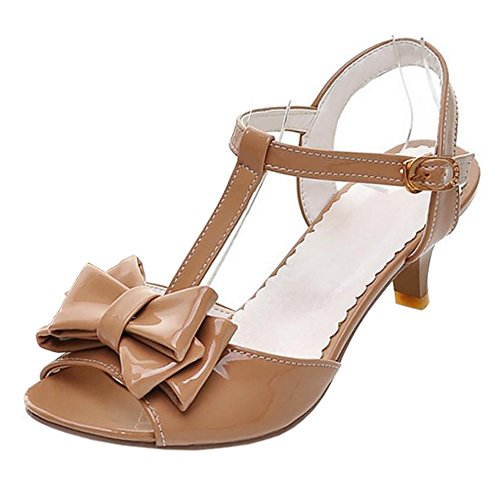 FANIMILA Mujer Moda Correa En T Peep Toe Sandalias Dulce Bowtie Mini Tacon Zapatos Dark-Albaricoque