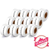 12 Rolls Compatible with Dymo 30327 White 1-Up File Folder Labels for Dymo LabalWriter 450 4XL, 9/16'' x 3-7/16'', 130 Labels per roll