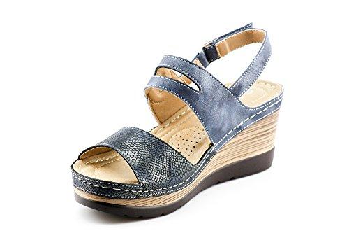 CALICO KIKI XIA-CK01 Women's Casual Peep Toe Velcro Ankle Strap Wedge Sandal Platform Shoes (8 US Navy) by CALICO KIKI (Image #4)