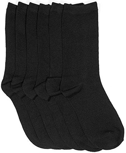 - ToBeInStyle Women's Pack of 6 Crew Socks - Black - Size 9-11