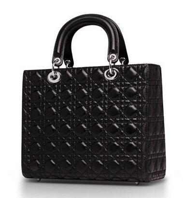 Talentote Sheep Skin Genuine Leather Lady Quilted Handbag Tote Shoulder Bag - Ttc-sln-df7 (black)