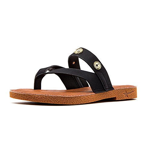 Heel Black Summer Low Trendy Toe Slippers w5WPWT7qC