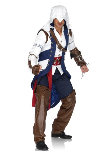 Leg Avenue Men's Assassin's Creed 5 Piece Connor Deluxe Costume Cosplay, White/Blue, Small/Medium (Assassin Halloween Costumes)