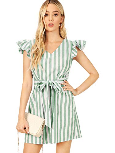 Milumia Women's Striped Self Tie Ruffle Cap Sleeve V Neck Colorblock Belted Dress Green