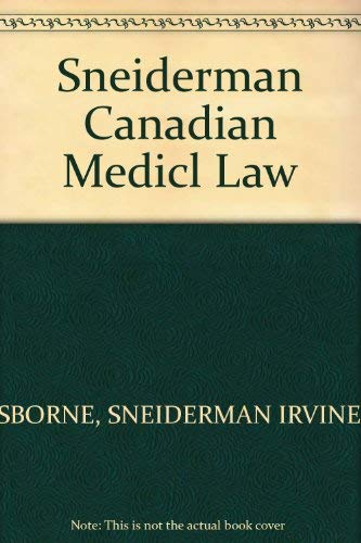 Canadian Medical Law an Introduction for Physicians and Other Health Care Professional