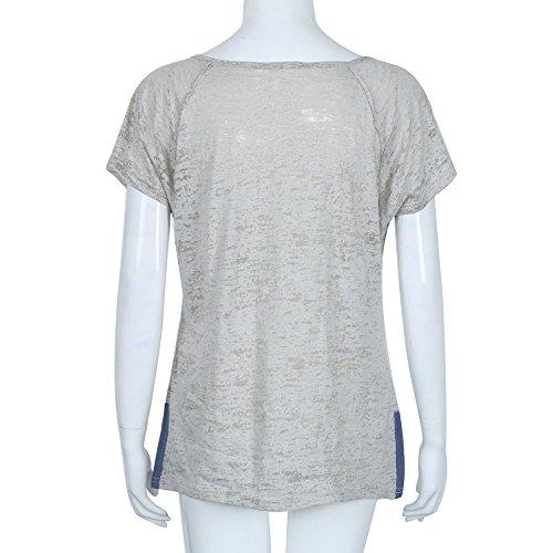 Gris V Manches Femmes Sport Courtes T Col Blouse Shirt Chic Sunenjoy Grande t Casual Vtements Top Chemisier Femme Bouton Haut Loose Printemps Taille BxwPq5AE