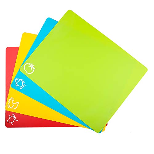 Carrollar Cutting Board Mats Flexible Plastic Colored Mats With Food Icons, BPA-Free, Non-Porous, Anti-skid back and Dishwasher Safe, Set of 4