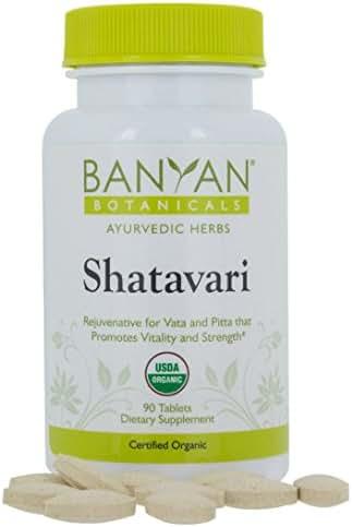 Banyan Botanicals Shatavari Tablets - USDA Organic - 90 ct - Asparagus Racemosus - Rejuvenative for Vata and Pitta That Promotes Vitality and Strength