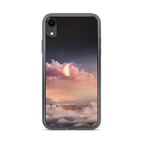 (iPhone XR Pure Clear Case Cases Cover Surrealism Boat Clouds Lonely Man Starry Sky)