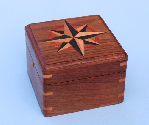 Small Boxed Compass with Inlaid Compass Rose