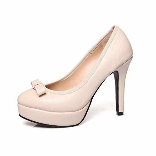 MissSaSa Damen elegant Plateau Low-cut Pumps mit Stiletto und Schleife modern high-heel runde Spitze Kleid/Brautschuhe Beige