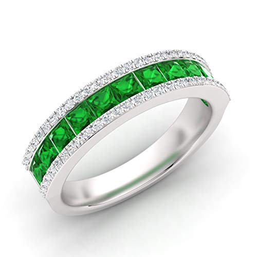 Diamondere Natural and Certified Princess Cut Emerald and Diamond Wedding Ring in 14K White Gold | 1.45 Carat Half Eternity Band for Women, US Size 6.5