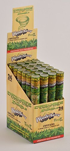 6 Total Natural Cyclone Dank 7 Hemp Cones w/ Wood Tip Wonderberry Flavored (6 Packs) + XL Beamer Doob Tube Non Tobacco Non Nicotine + Limited Edition Beamer Smoke Sticker Made of Pure Hemp