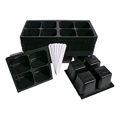 320 Cells Seedling Starter Trays for Seed Germination and Starting +5 Plant Labels (80, 4-cell Trays) 804 Pattern for Gardening, Greenhouses, and Hydroponics