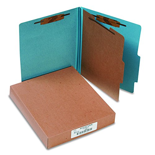 ACCO Classification Folders with Fasteners, Pressboard, 4-Part, Letter Size, Blue, 10 per Box -