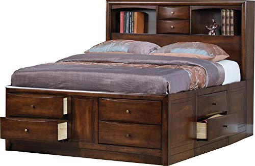 Hillary Eastern King Bookcase Bed with Underbed Storage Drawers Warm Brown