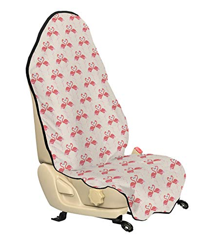 (Ambesonne Flamingo Car Seat Cover, Retro Style Little Polka Dots Cute Flamingo Couples Tropic Accents, Car and Truck Seat Cover Protector with Nonslip Backing Universal Fit, Beige Dark Coral Purple)