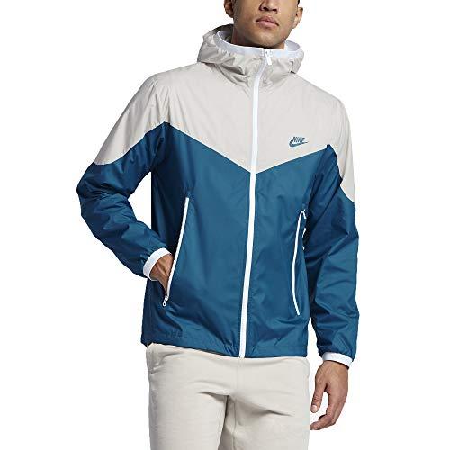 (Nike Men's Sportswear Windrunner Hooded Track Jacket (Light Bone/Industrial Blue, XX-Large))
