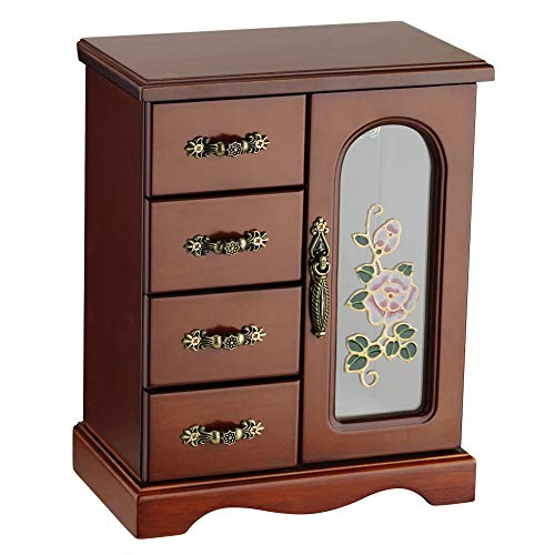 Round Rich Jewelry Box - Made of Solid Wood with 4 Drawers Organizer and Built-in Necklace Carousel and Large Mirror Brown