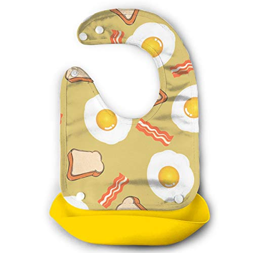 Robprint Bacon Eggs Breakfast Waterproof Silicone Bibs Toddler Burpy Absorbent Feeding Reflux Drool Teething