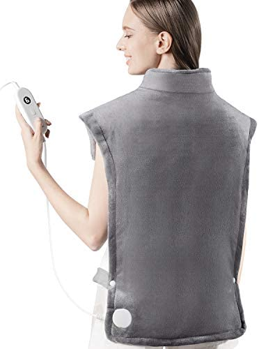 iTeknic Heating Pad for Back Pain Relief, [35″x27″] Extra Large Heating Pad for Neck and Shoulders with Auto Shut Off, 6 Temperature Settings, Fast Heating – Electric Heat Pad for Cramps Gray
